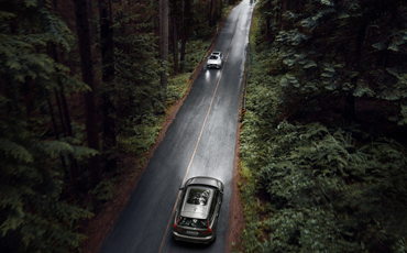 To biler møtes på skogsvei